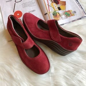 Bionica Red Suede Velcro Strap Shoes 8